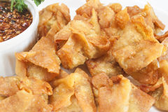Deep fried shrimp wonton. On a white plate Royalty Free Stock Photo