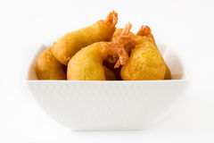 Deep fried shrimps in a bowl isolated Royalty Free Stock Image