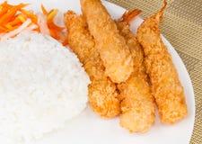 Deep Fried Shrimps Ebi Tempura and Rice Asian Food. Picture of Deep Fried Shrimps Ebi Tempura and Rice Asian Food Stock Image