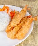 Deep Fried Shrimps Ebi Tempura and Rice Asian Food. Close up of Deep Fried Shrimps Ebi Tempura and Rice Asian Food Stock Image