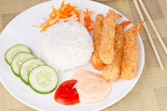 Deep Fried Shrimps Ebi Tempura and Rice Asian Food. Close up of Deep Fried Shrimps Ebi Tempura and Rice Asian Food Stock Images