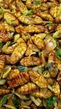 Deep fried silk warm. Thai dish with warm Royalty Free Stock Photo