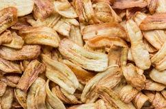 Deep fried sliced banana chips Royalty Free Stock Image