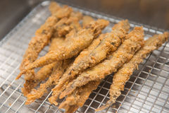 Deep fried Smelt Fish with Many Eggs Stock Photos