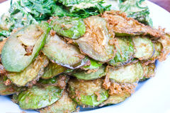 Deep Fried Snake Eggplants Coated with Egg Royalty Free Stock Photography