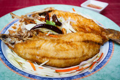 Deep-fried snapper, stlye thai food. Royalty Free Stock Photo