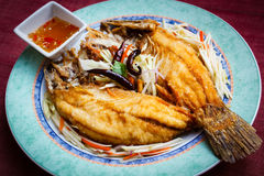 Deep-fried snapper, stlye thai food. Stock Photography