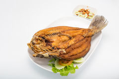 Deep Fried Snapper topped with Sweet Fish Sauce Stock Photos