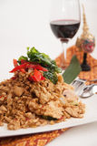 Deep fried soft shell carb and chicken basil stir fried Stock Image