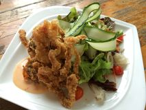 Deep fried Soft Shell Crab Salad Stock Image