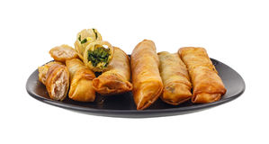 Deep fried spring rolls isolated Royalty Free Stock Photography