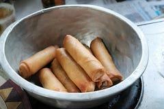 Deep fried spring rolls.spring rolls at street food. Spring rolls at street food Stock Photos