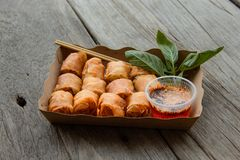 deep fried spring rolls. royalty free stock image