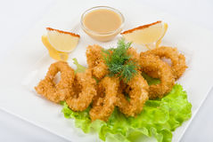 Deep-fried squid dish Royalty Free Stock Images