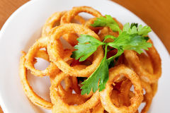 Deep-fried squid rings Stock Photos