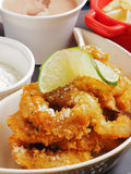 Deep-Fried squid rings. With sauce Stock Images