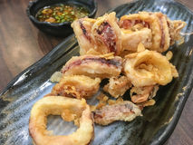 Deep-fried squid rings with sause, Japanese food Stock Images