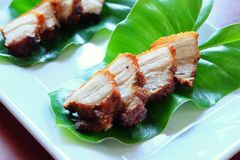 Deep fried streaky pork with fish sauce Stock Photography