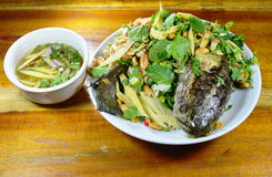 Deep fried striped snake head fish with mixed herb and sweet sauce Stock Photo