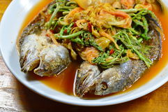 Deep fried striped snake head fish in mixed hot and sour soup on dish Royalty Free Stock Photography