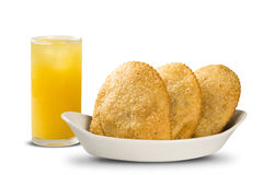 Deep fried stuffed pastry. Brazilian food pasteis on the backgro Royalty Free Stock Photos
