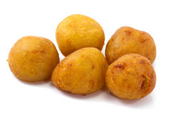 Deep-fried sweet potato balls. Khanom kai nok krata or deep-fried sweet potato balls Royalty Free Stock Photos