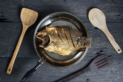 Deep Fried Tilapia Fish with salt, Top view royalty free stock photo