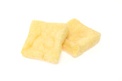 Deep fried tofu. Pictured deep fried tofu in a white background Royalty Free Stock Photo