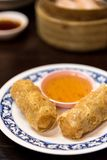 Deep Fried Tofu Skin Rolls with Shrimps. Stock Photo