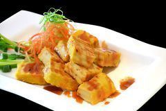 Deep fried tofu and sweet sauce royalty free stock photos