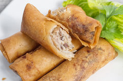 Deep fried Vietnamese imperial rolls Royalty Free Stock Photography