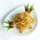 Deep fried white bait with spicy salt Royalty Free Stock Photography