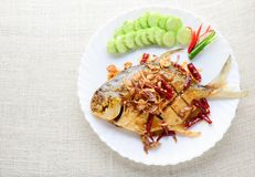 Deep Fried White Pomfret With Black Pepper Garlic royalty free stock image