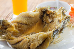 Deep fried white seabass topped fish sauce Royalty Free Stock Image