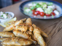 Deep fried whitebait and salad Royalty Free Stock Photo
