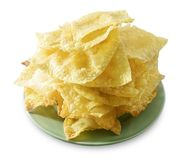 Deep Fried Wonton in A Green Plate Royalty Free Stock Image