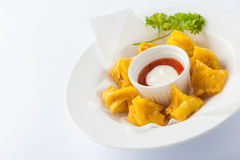 Deep fried wonton with sweet and sour sauce Royalty Free Stock Image
