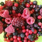 Deep frozen fruit mixture. With blackberries, rasberries, red currant, blackcurrant and bilberry Stock Image