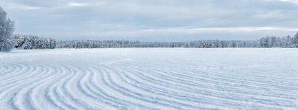 Deep frozen lake at Finland Stock Photography