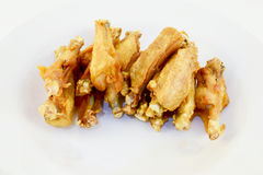 Deep fry chicken wings. Crispy deep fry top half of chicken wings in dish with white isolated background stock images