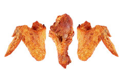 deep fry chicken wings and thigh isolated on white Royalty Free Stock Images