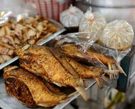 Deep fry fish. At Bangkok hawker stall Stock Image