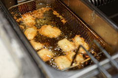 Deep fryer with boiling oil Royalty Free Stock Photo