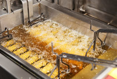 Deep fryer with oil on restaurant kitchen Royalty Free Stock Image