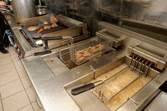 Deep fryers and grill, kitchen equipment Stock Image