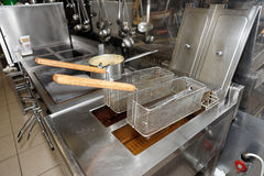 Deep fryers with oil on a kitchen Stock Photography