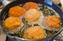 Deep frying Scotch Eggs (or meatballs) Royalty Free Stock Photography