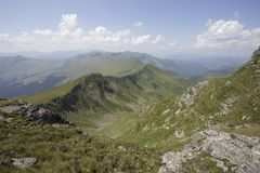 Glacial valley. The deep glacial valley carved on the northern slopes of Ineu Peak Stock Images