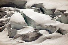 Deep glacier crevasses on Jungfraujoch, Switzerland Royalty Free Stock Photos