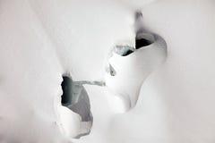 Deep glacier crevasses on Jungfraujoch, Switzerland Royalty Free Stock Photography